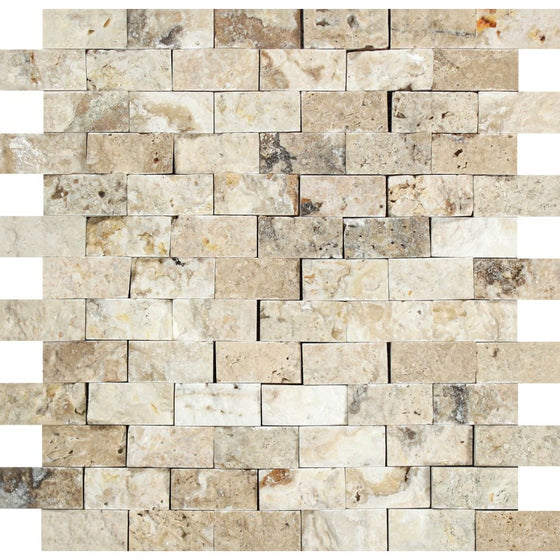 1 x 2  Split-faced Philadelphia Travertine Brick Mosaic Tile - Tilephile
