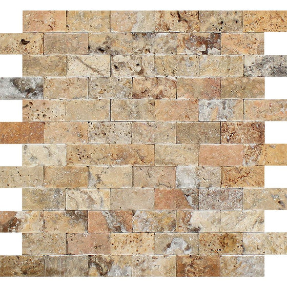 1 x 2 Split-faced Scabos Travertine Brick Mosaic Tile - Tilephile