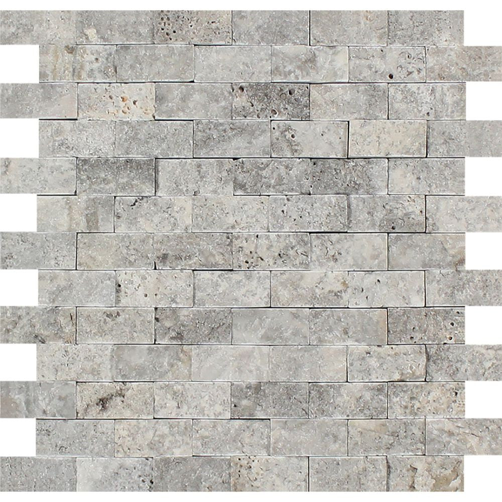 1 x 2 Split-faced Silver Travertine Brick Mosaic Tile Sample - Tilephile