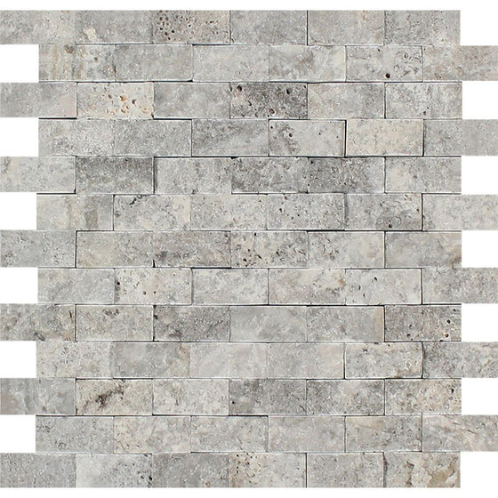 1 x 2 Split-faced Silver Travertine Brick Mosaic Tile