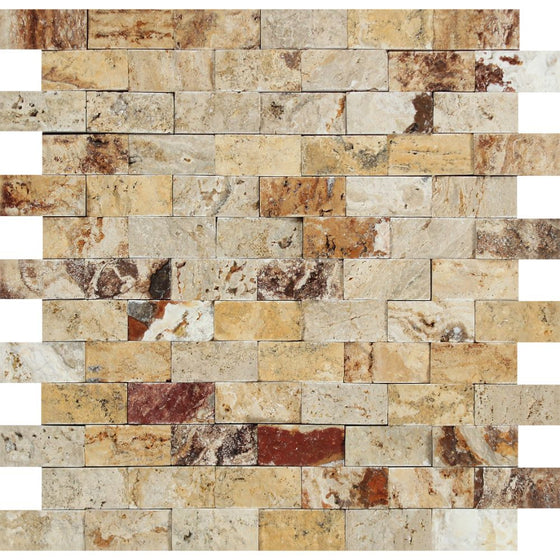 1 x 2 Split-faced Valencia Travertine Brick Mosaic Tile - Tilephile