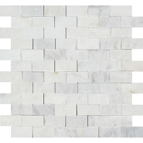 1 x 2 Split-faced Oriental White Marble Brick Mosaic Tile - Tilephile