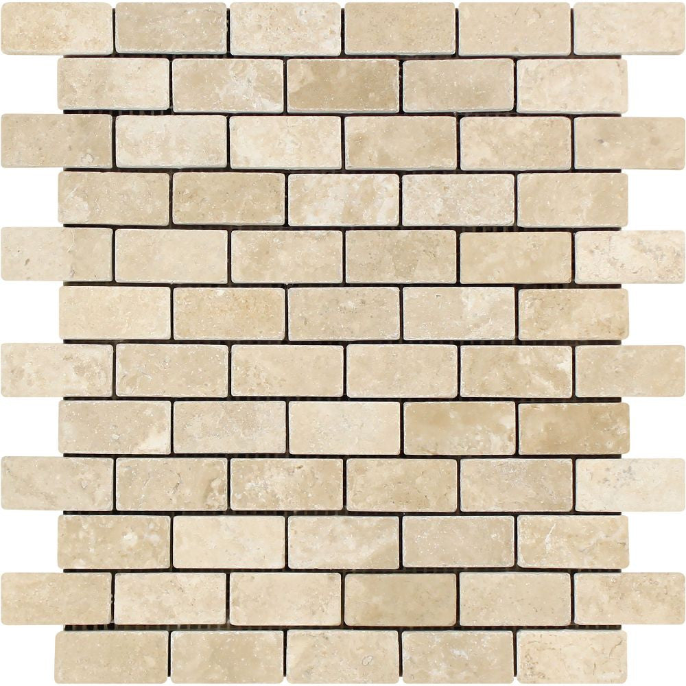 1 x 2 Tumbled Durango Travertine Brick Mosaic Tile - Tilephile