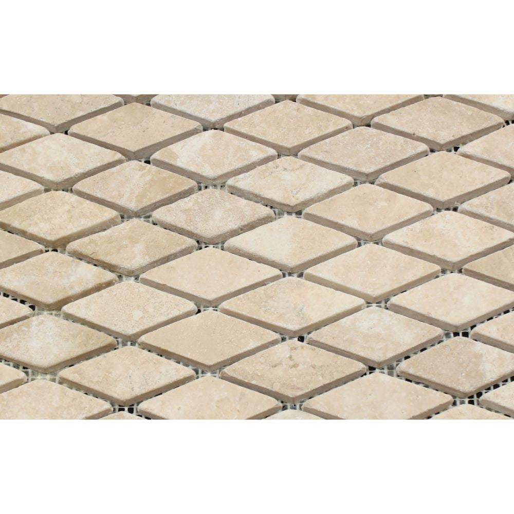 1 x 2 Tumbled Durango Travertine Diamond Mosaic Tile - Tilephile