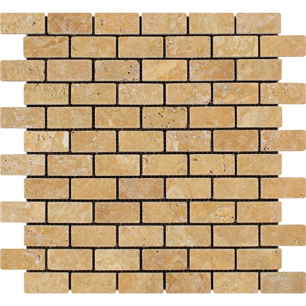 1 x 2 Tumbled Gold Travertine Brick Mosaic Tile - Tilephile