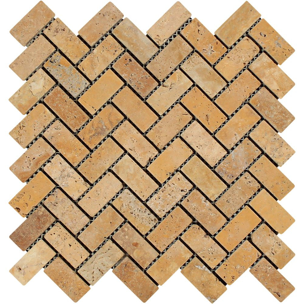 1 x 2 Tumbled Gold Travertine Herringbone Mosaic Tile Sample - Tilephile