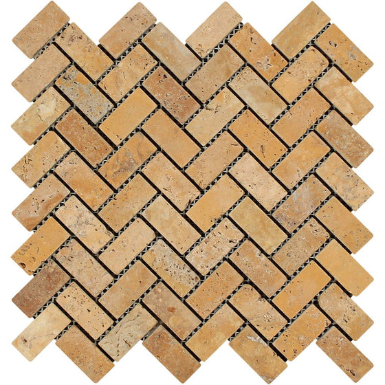 1 x 2 Tumbled Gold Travertine Herringbone Mosaic Tile