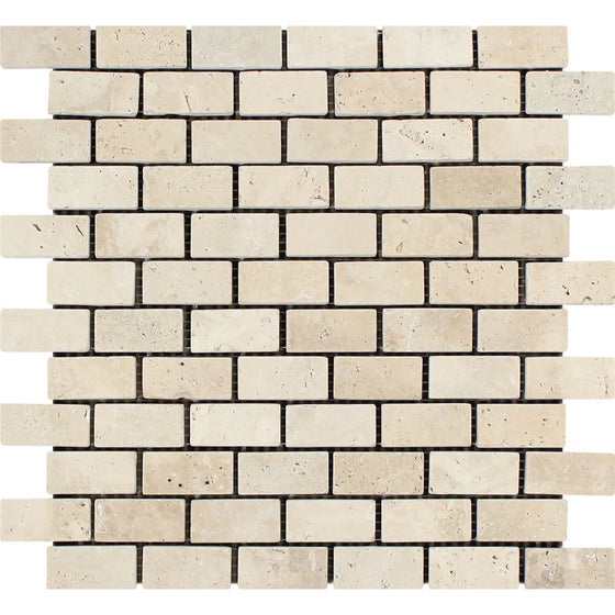 1 x 2 Tumbled Ivory Travertine Brick Mosaic Tile