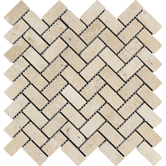1 x 2 Tumbled Ivory Travertine Herringbone Mosaic Tile