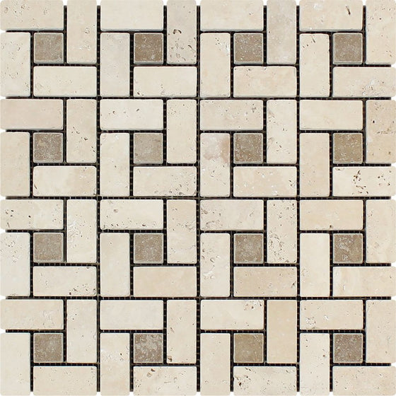 1 x 2 Tumbled Ivory Travertine Large Pinwheel Mosaic Tile w/ Noce Dots - Tilephile