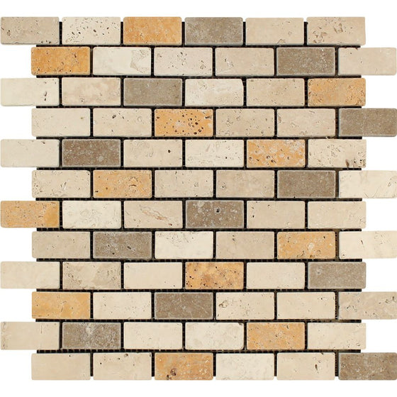1 x 2 Tumbled Mixed Travertine Brick Mosaic Tile (Ivory + Noce + Gold)