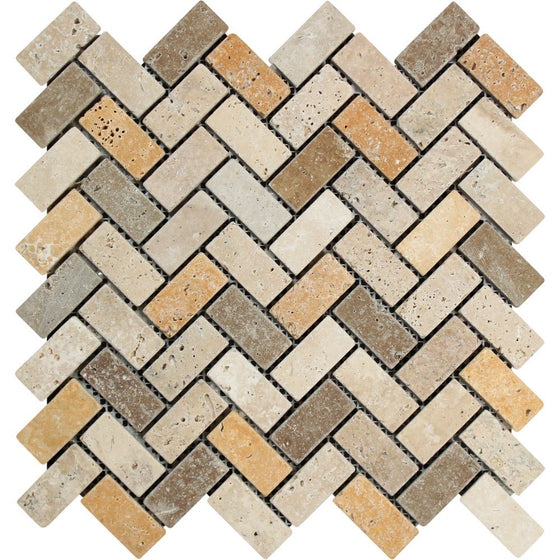 1 x 2 Tumbled Mixed Travertine Herringbone Mosaic Tile (Ivory + Noce + Gold)