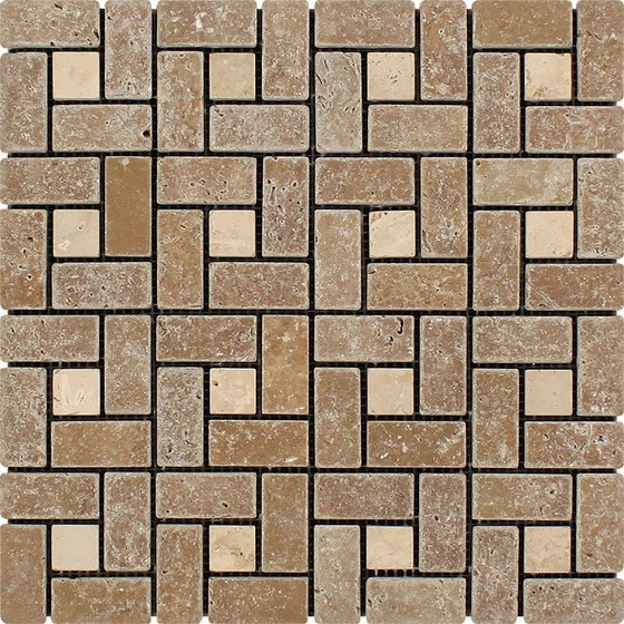 1 x 2 Tumbled Noce Travertine Large Pinwheel Mosaic Tile w/ Ivory Dots