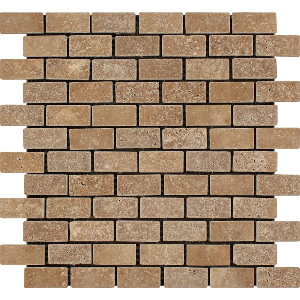 1 x 2 Tumbled Noce Travertine Brick Mosaic Tile Sample - Tilephile