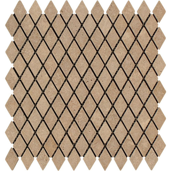 1 x 2 Tumbled Noce Travertine Diamond Mosaic Tile - Tilephile