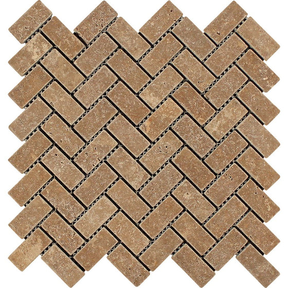 1 x 2 Tumbled Noce Travertine Herringbone Mosaic Tile - Tilephile