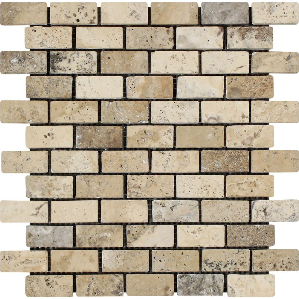 1 x 2 Tumbled Philadelphia Travertine Brick Mosaic Tile Sample - Tilephile