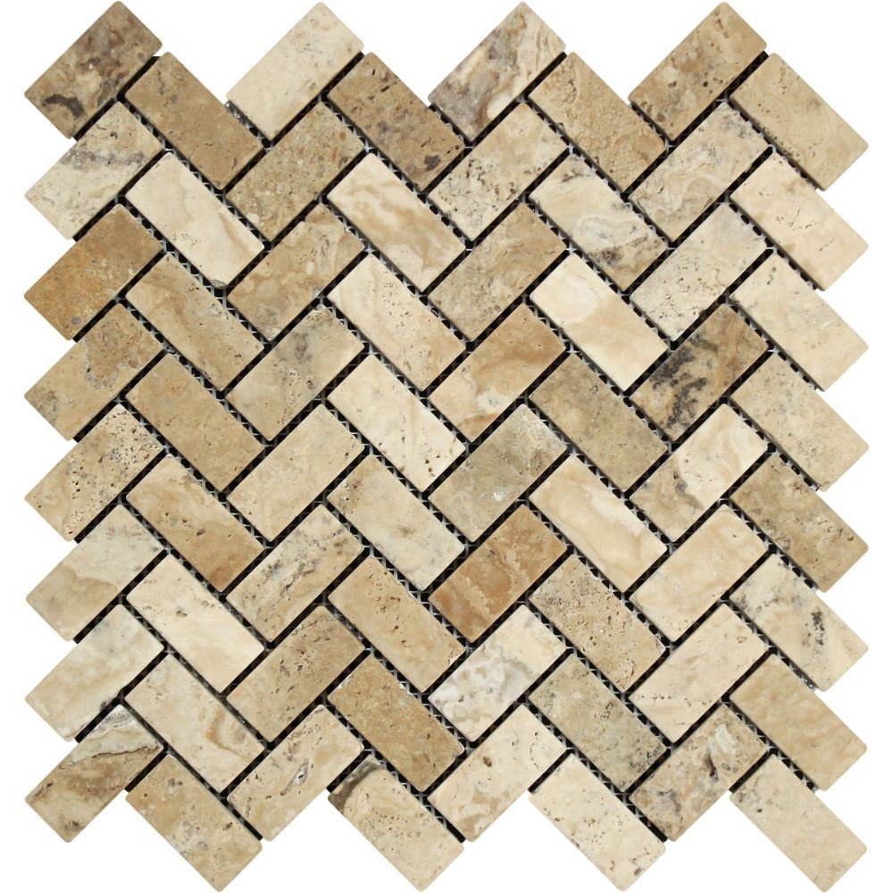 1 x 2 Tumbled Philadelphia Travertine Herringbone Mosaic Tile Sample - Tilephile