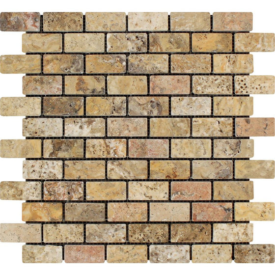 1 x 2 Tumbled Scabos Travertine Brick Mosaic Tile