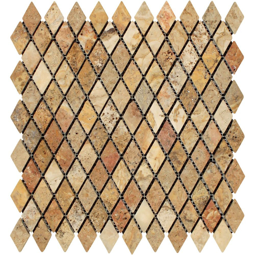 1 x 2 Tumbled Scabos Travertine Diamond Mosaic Tile Sample - Tilephile