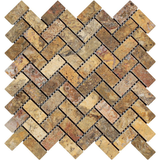 1 x 2 Tumbled Scabos Travertine Herringbone Mosaic Tile - Tilephile