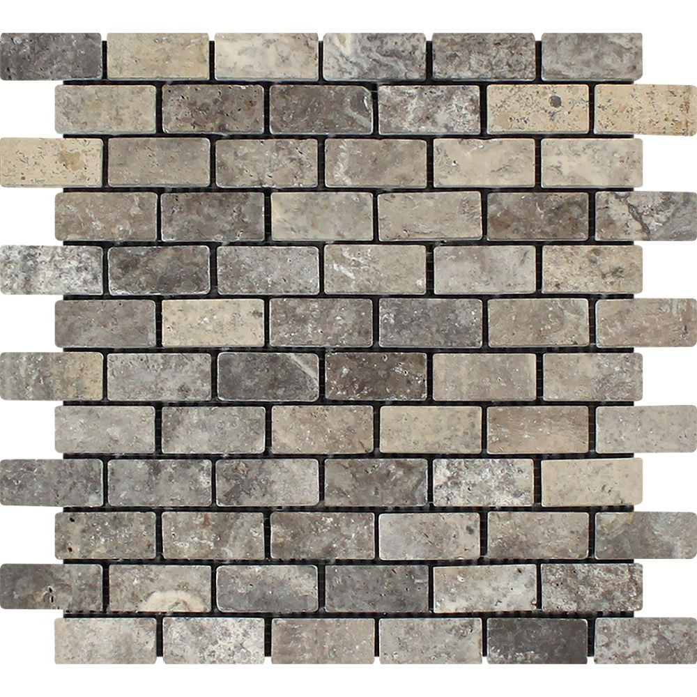 1 x 2 Tumbled Silver Travertine Brick Mosaic Tile - Tilephile