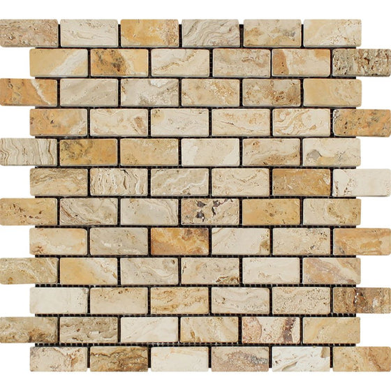 1 x 2 Tumbled Valencia Travertine Brick Mosaic Tile - Tilephile