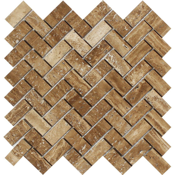 1 x 2 Unfilled, Brushed Noce Exotic (Vein-Cut) Travertine Herringbone Mosaic Tile - Tilephile