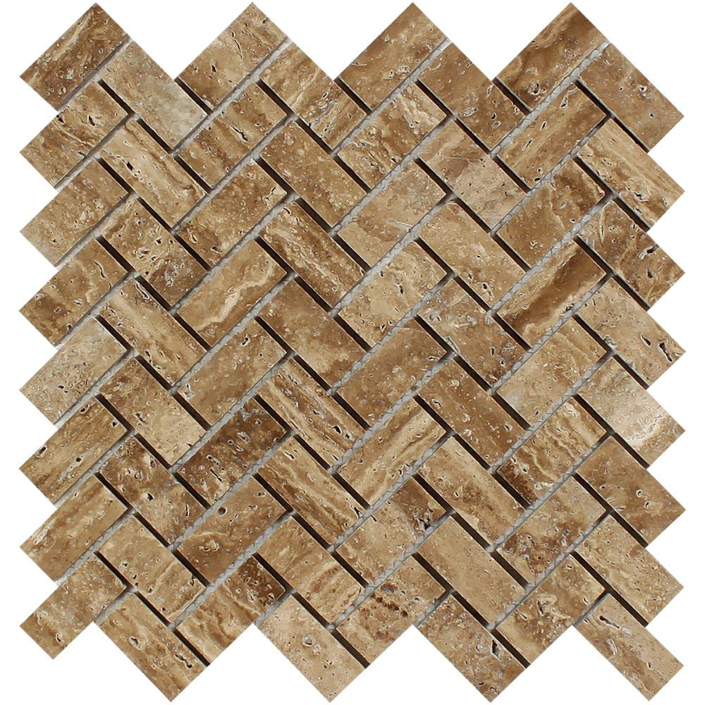 1 x 2 Unfilled, Polished Noce Exotic (Vein-Cut) Travertine Herringbone Mosaic Tile Sample - Tilephile