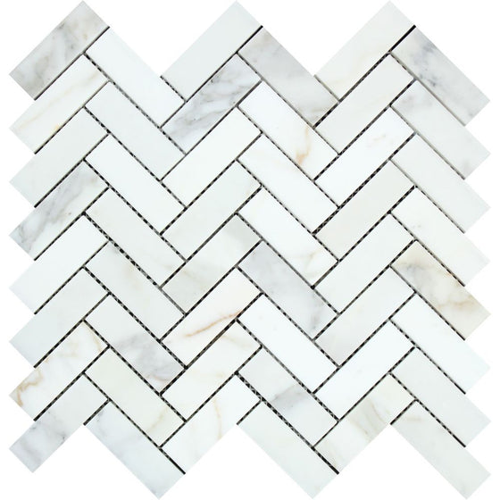 1 x 3 Honed Calacatta Gold Marble Herringbone Mosaic Tile - Tilephile
