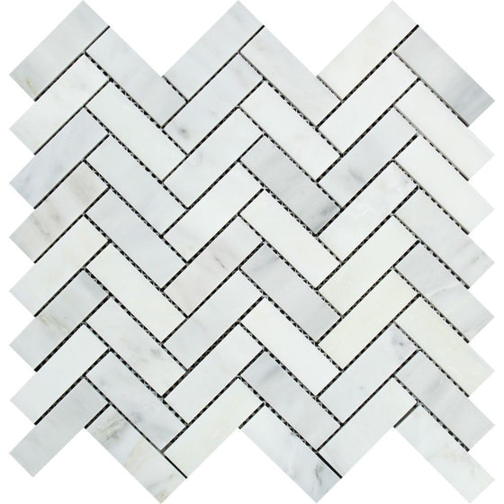 1 x 3 Honed Oriental White Marble Herringbone Mosaic Tile