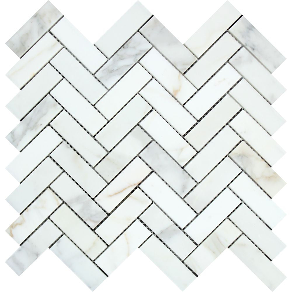 1 x 3 Polished Calacatta Gold Marble Herringbone Mosaic Tile Sample - Tilephile