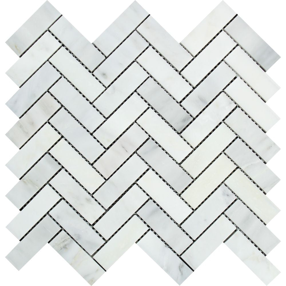 1 x 3 Polished Oriental White Marble Herringbone Mosaic Tile Sample - Tilephile