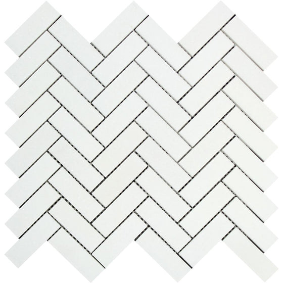 1 x 3 Polished Thassos White Marble Herringbone Mosaic Tile - Tilephile