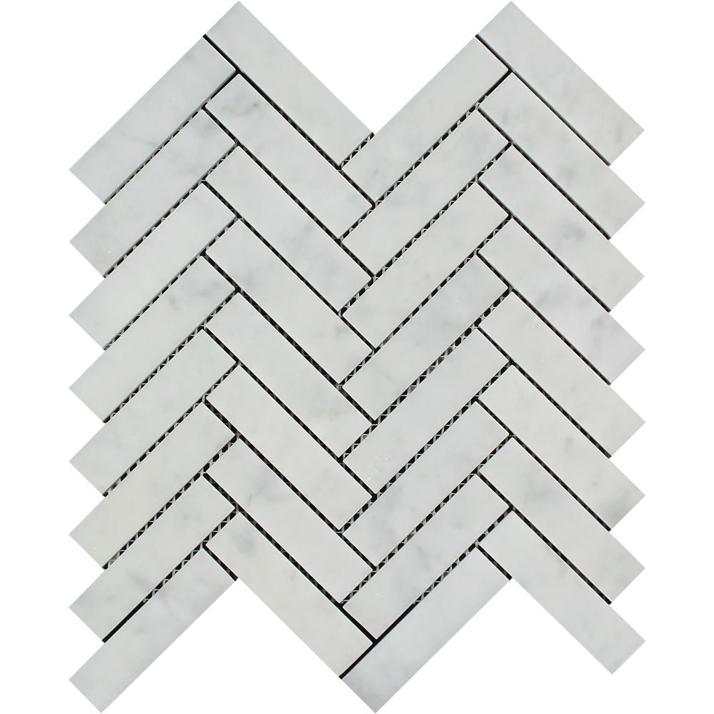 1 x 4 Honed Bianco Carrara Marble Herringbone Mosaic Tile Sample - Tilephile