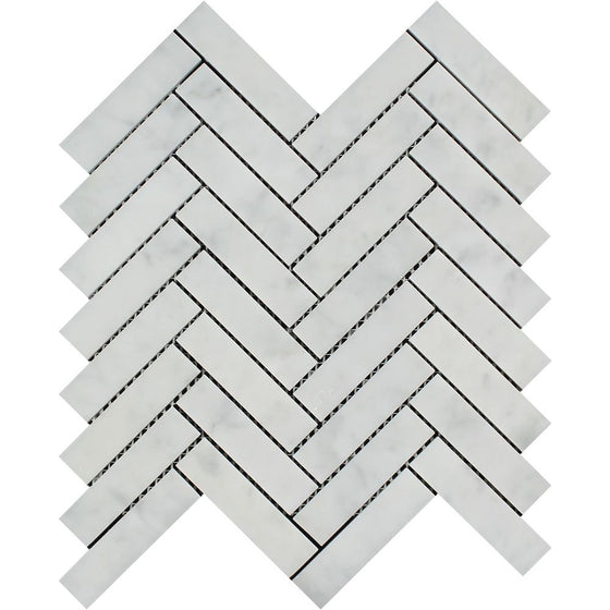 1 x 4 Honed Bianco Carrara Marble Herringbone Mosaic Tile