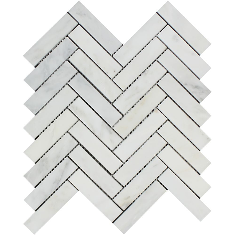 1 x 4 Honed Oriental White Marble Herringbone Mosaic Tile Sample - Tilephile