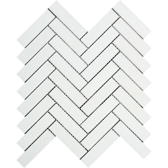 1 x 4 Honed Thassos White Marble Herringbone Mosaic Tile