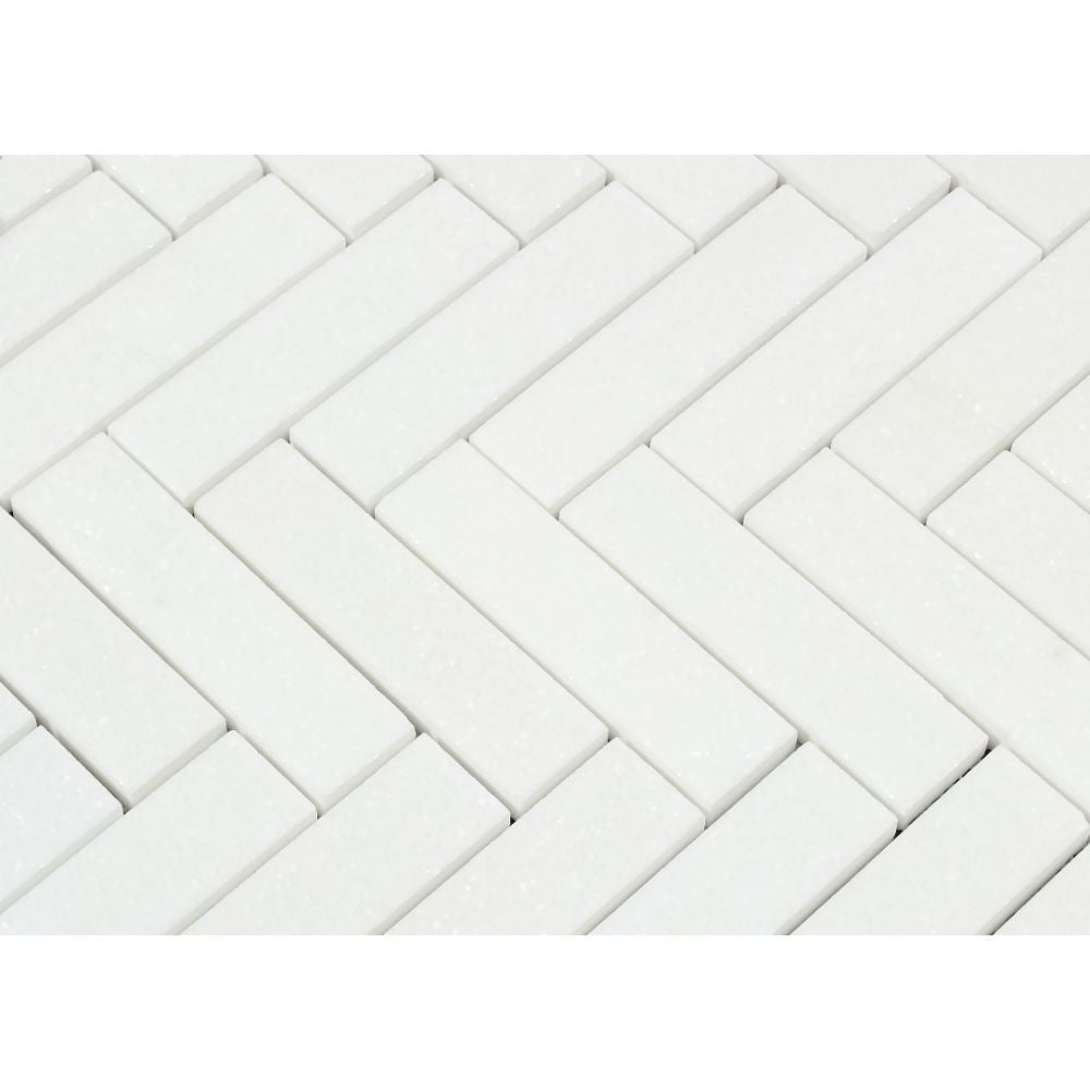 1 x 4 Honed Thassos White Marble Herringbone Mosaic Tile - Tilephile