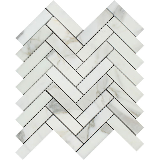 1 x 4 Polished Calacatta Gold Marble Herringbone Mosaic Tile - Tilephile