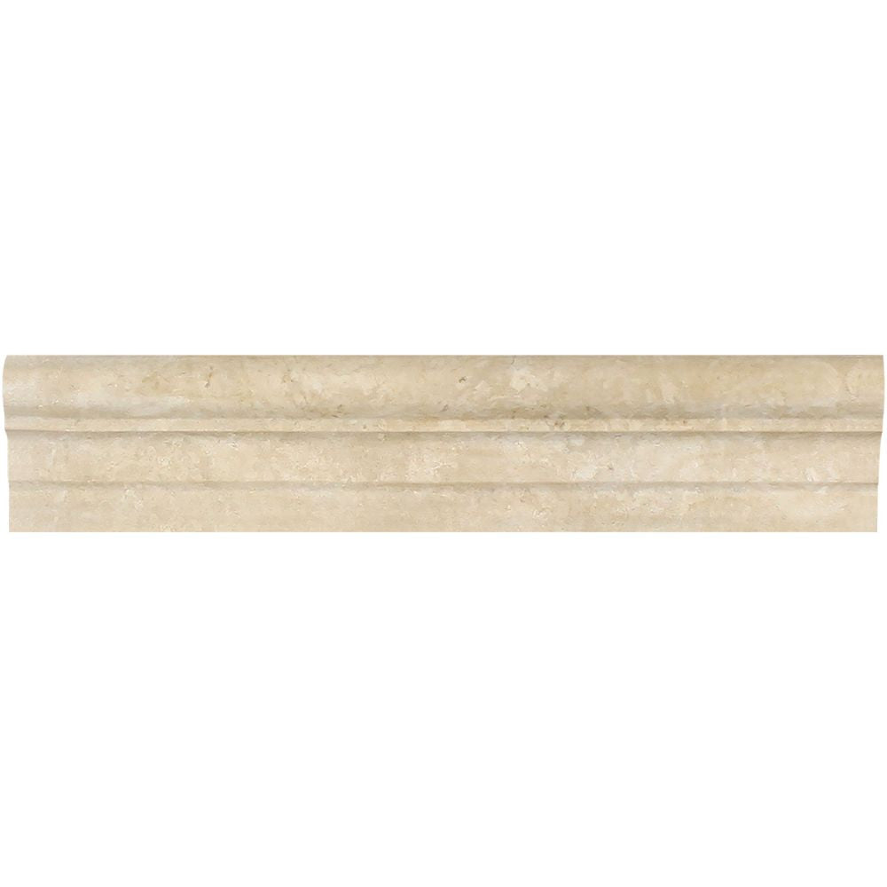 2 1/2 x 12 Honed Durango Travertine Double-Step Chair Rail Trim - Tilephile