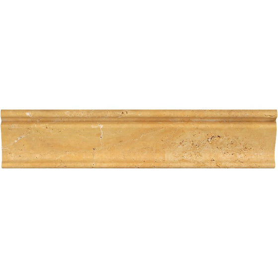 2 1/2 x 12 Honed Gold Travertine Crown Molding - Tilephile
