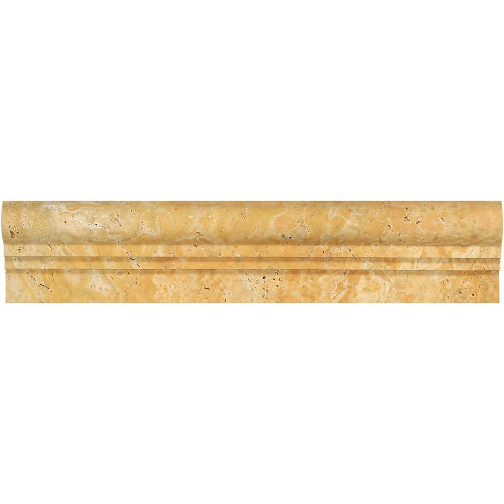 2 1/2 x 12 Honed Gold Travertine Double-Step Chair Rail Trim Sample - Tilephile