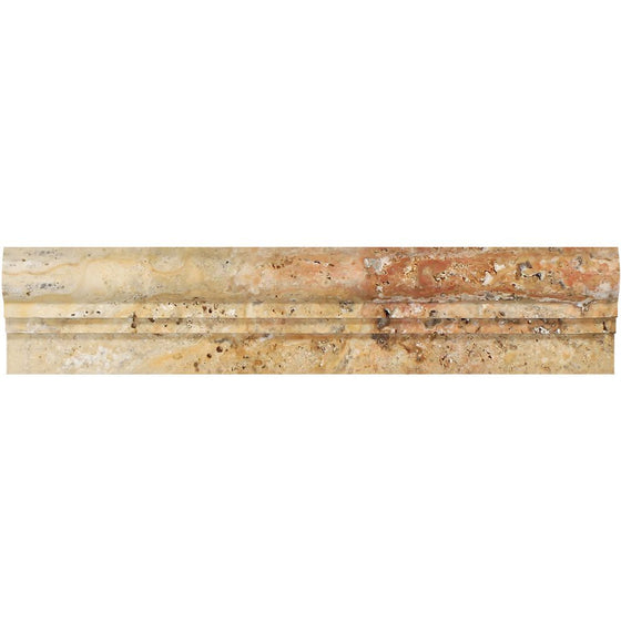 2 1/2 x 12 Honed Scabos Travertine Double-step Chair Rail Trim