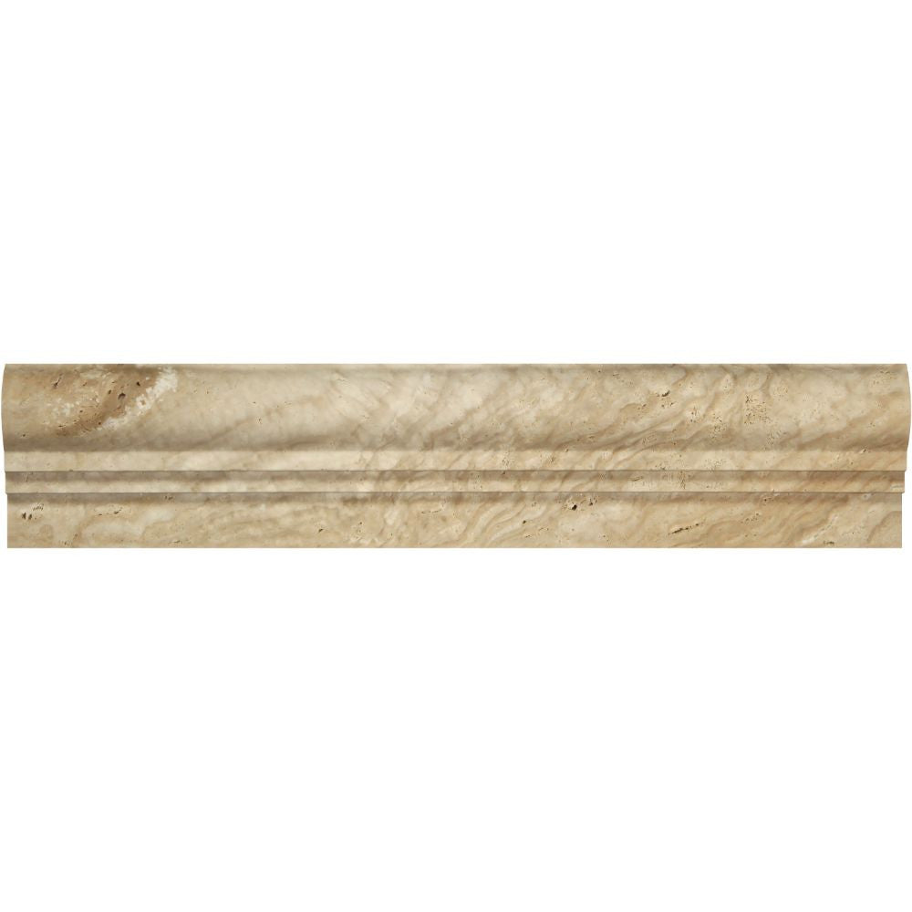2 1/2 x 12 Honed Valencia Travertine Double-Step Chair Rail Trim Sample - Tilephile