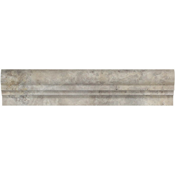 2 1/2 x 12 Tumbled Silver Travertine Double-Step Chair Rail Trim - Tilephile