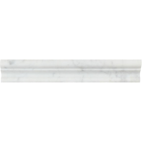 2 x 12 Honed Bianco Carrara Marble Crown Molding