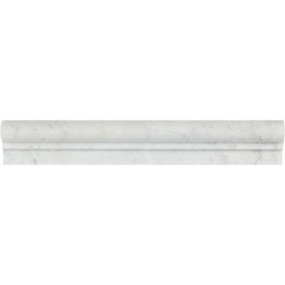 2 x 12 Honed Bianco Carrara Marble Single-Step Chair Rail Trim