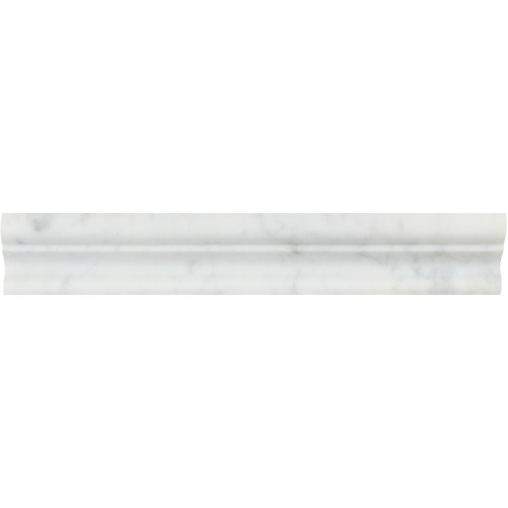 2 x 12 Polished Bianco Carrara Marble Crown Molding - Tilephile
