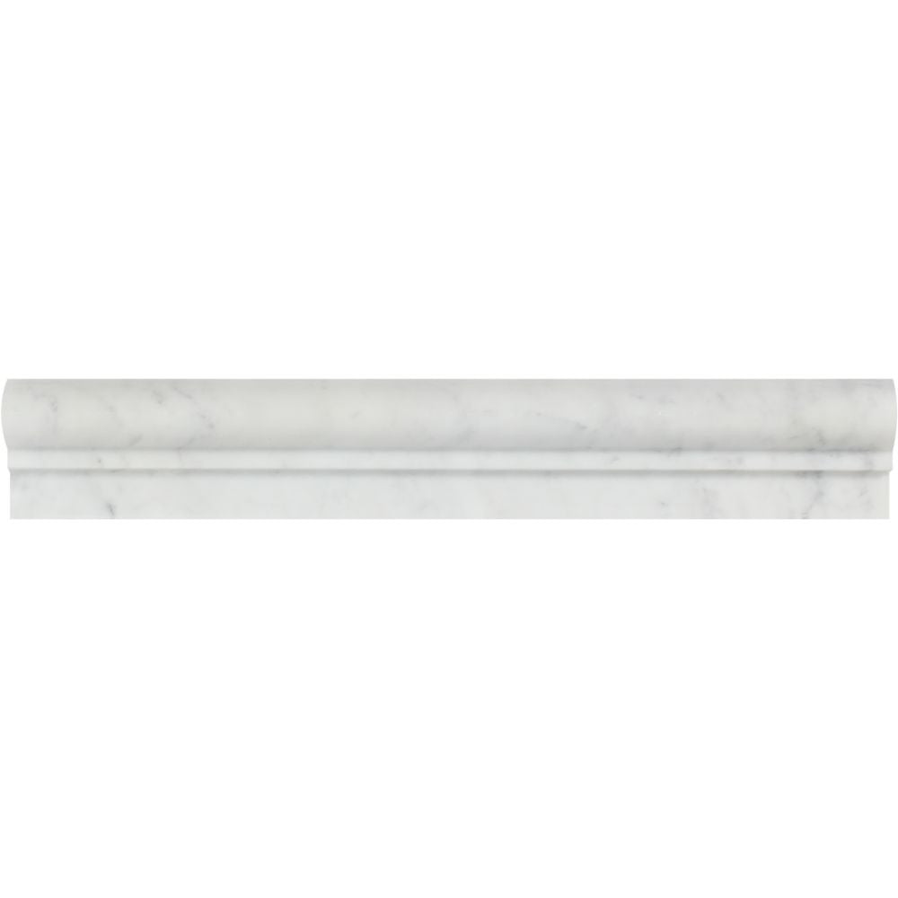 2 x 12 Polished Bianco Carrara Marble Single-Step Chair Rail Trim Sample